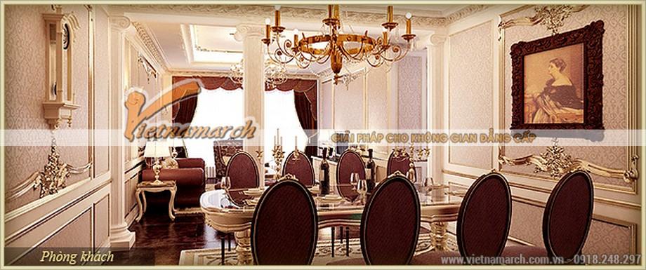 Thiết kế nội thất tân cổ điển phòng ăn tông màu lộng lẫy sa hoa
