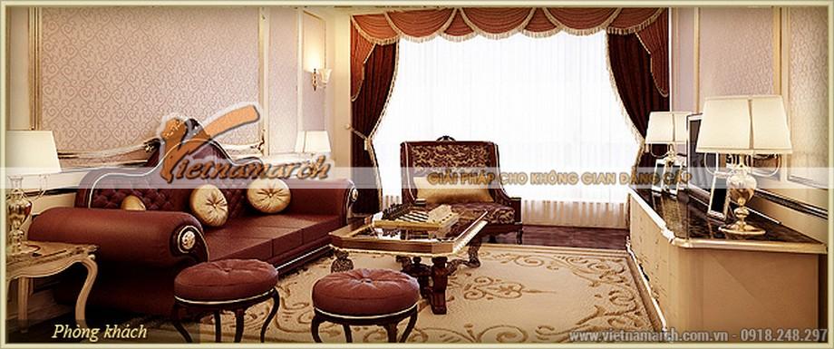 Nội thất cổ điển phòng khách hoa lệ mang phong cách hiện đại trong chung cư D'.Palais de Louis– Tân Hoàng Minh