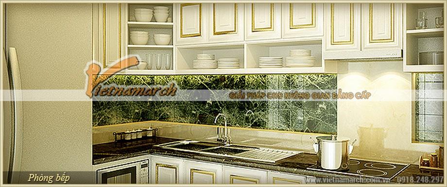 Thiết kế nội thất phòng bếp gọn gàng và tinh tươm trong tông màu trắng tinh khôi