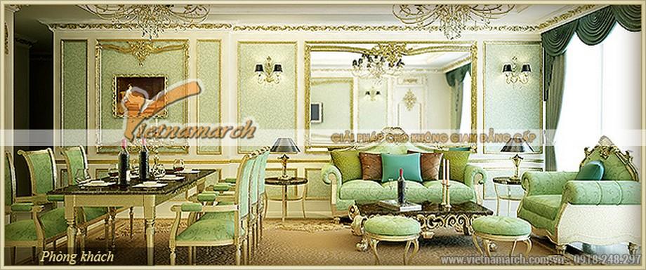 Không gian phòng khách và phòng ăn sang trọng, lạ mắt với màu xanh ngọc