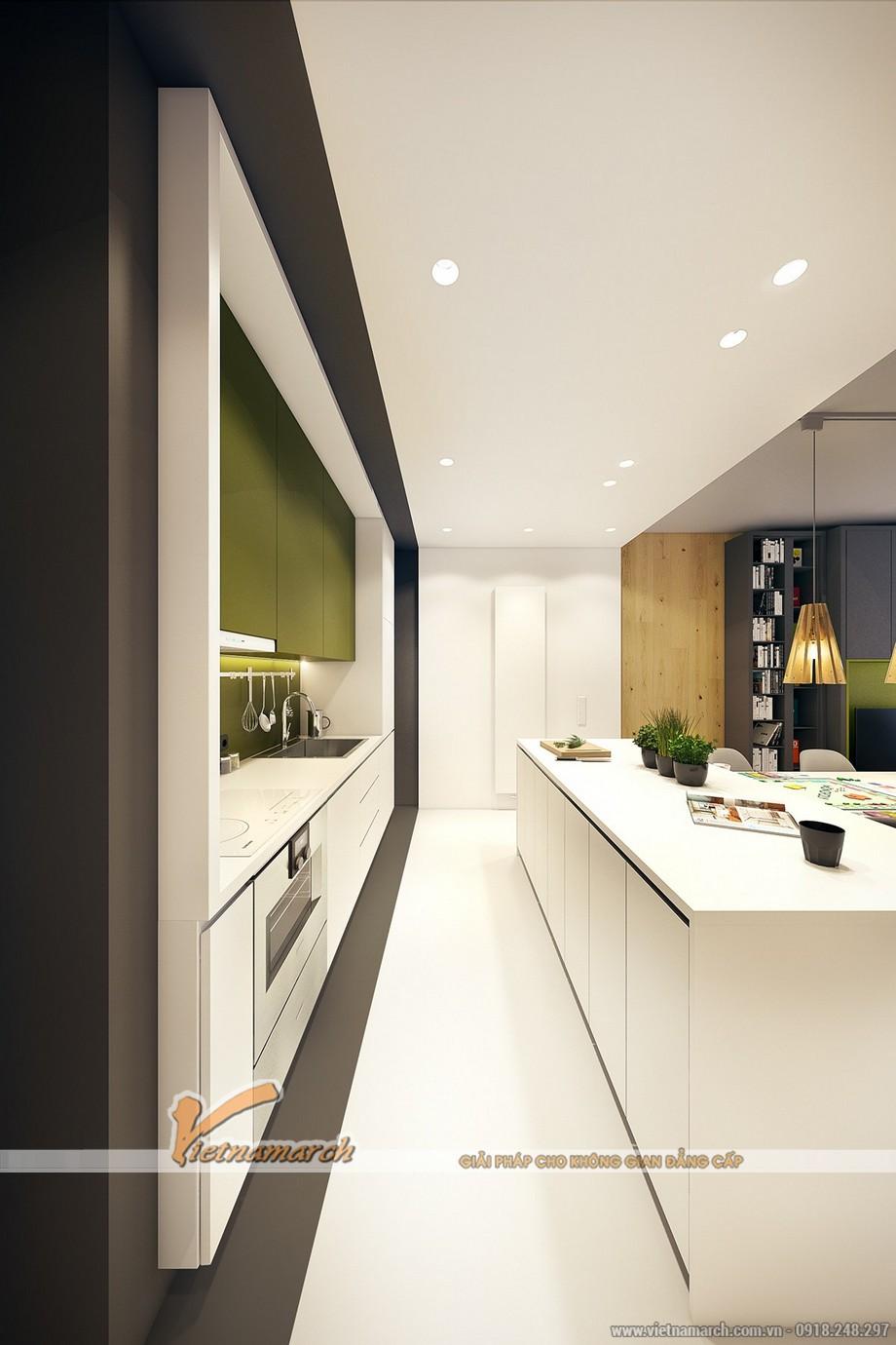 Cách pha màu tinh tế trong phòng bếp nhỏ gọn đã đánh lừa mắt nhìn của người xem