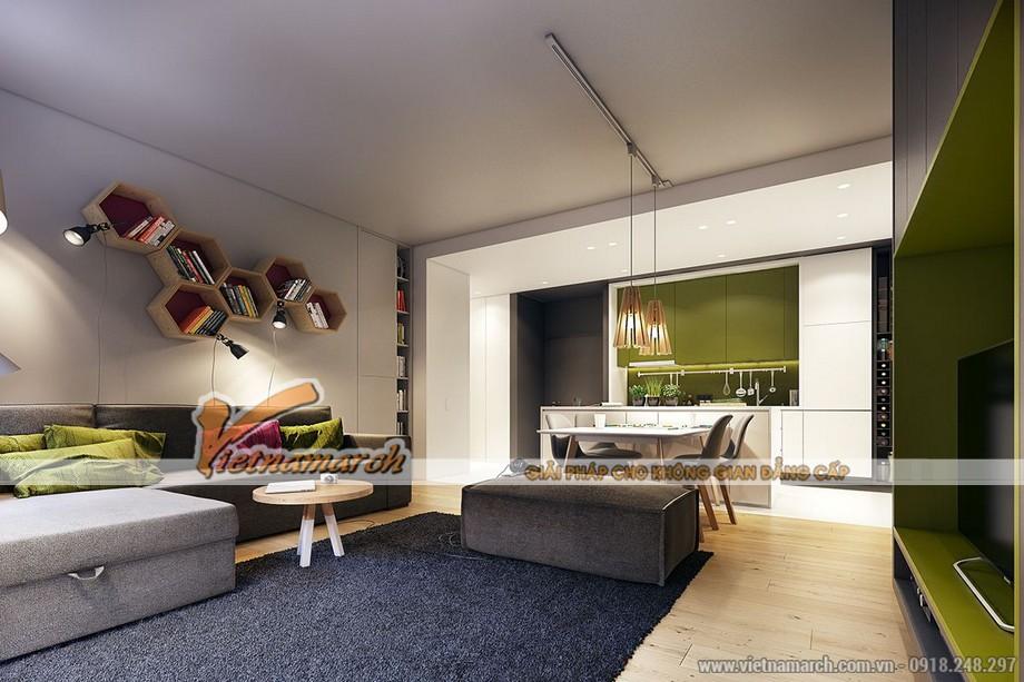 Những nội thất nhỏ nhắn, độc đáo nhưng được hòa quyện trong sắc màu sinh động của không gian phòng khách