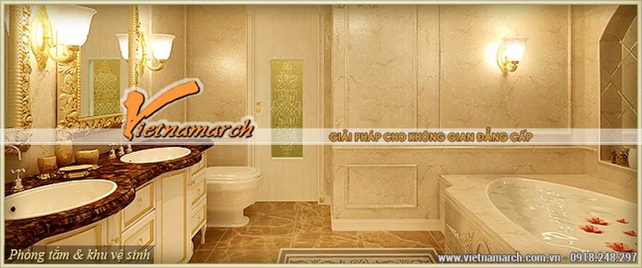 Thiết kế nội thất tân cổ điển phòng tắm lộng lẫy, nhẹ nhàng của căn hộ B - Hermes trong chung cư D'.Palais de Louis