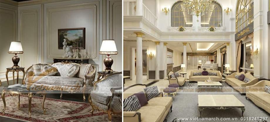 Nội thất cổ điển hài hòa trong khu vực sinh hoạt mở của căn hộ penthouse