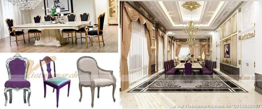 Thiết kế nội thất cổ điển với gam màu tím đậm trong phòng ăn