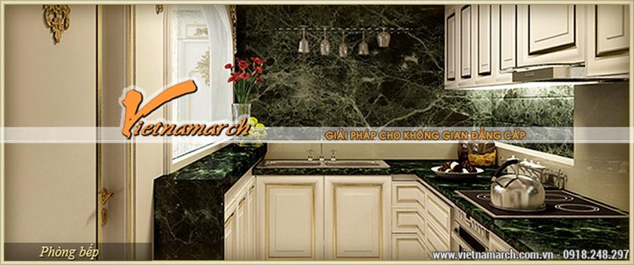 Thiết kế nội thất tân cổ điển lịch lãm cho căn bếp sang trọng, quý phái