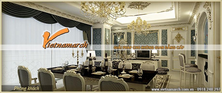 Thiết kế nội thất phòng khách tân cổ điển sang trọng trong căn hộ Venus chung cư D'.Palais de Louis - Nguyễn Văn Huyên