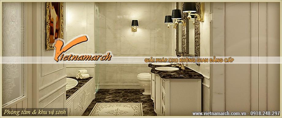 Thiết kế nội thất tân cổ điển phòng tắm lộng lẫy, nhẹ nhàng của căn hộ A - Venus trong chung cư D'.Palais de Louis