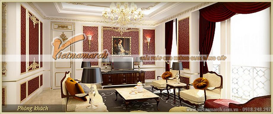 Phòng khách siêu sang trọng căn hộ Zeus - Nội thất chung cư D'.Palais de Louis – Tân Hoàng Minh