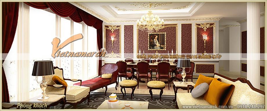 Nội thất cổ điển phòng ăn lộng lẫy trong căn hộ Zeus chung cư D'.Palais de Louis –Nguyễn Văn Huyên - Tân Hoàng Minh