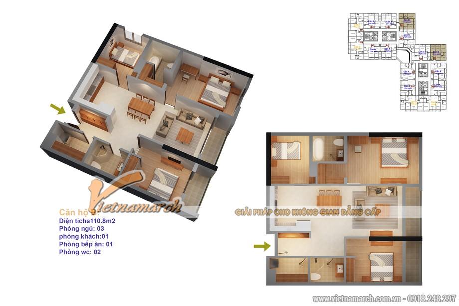 Mặt bằng căn hộ mẫu căn 03 tại tòa Ruby4 chung cư Goldmark City