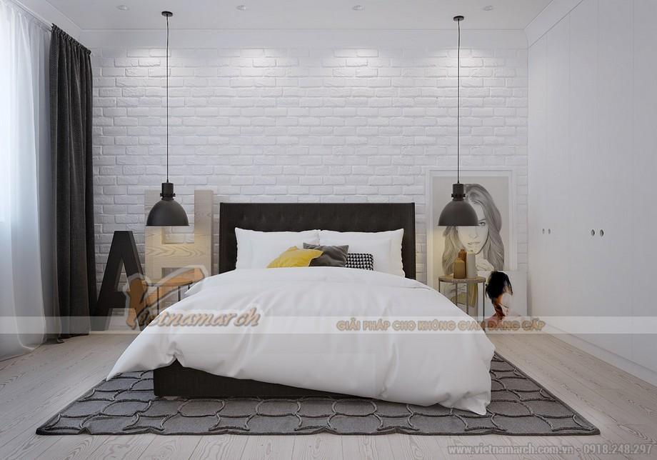 Thiết kế nội thất chung cư goldmark city với phòng ngủ nhẹ nhàng, tinh tế