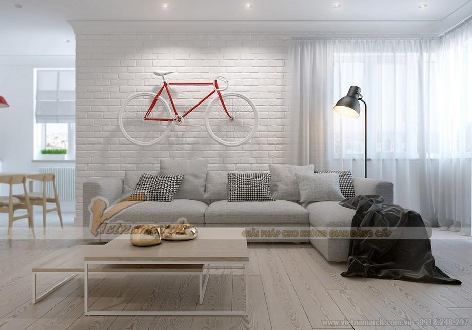 Thiết kế nội thất chung cư goldmark city tại phòng khách thoáng đãng, cá tính