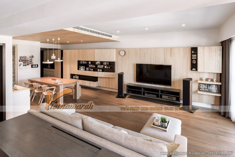 Thiết kế nội thất chung cư Goldmark City sử dụng nhiều sàn gỗ tự nhiên