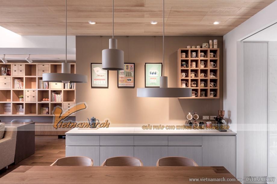 Phòng bếp cũng với 70% nội thất đồ gỗ tạo cảm giác ấm cúng, thân thiện