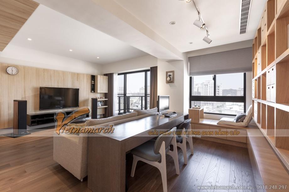 Phòng khách rộng rãi có thể bố trí một khu vực nghỉ ngơi giải trí ngập tràn ánh nắng thiên nhiên