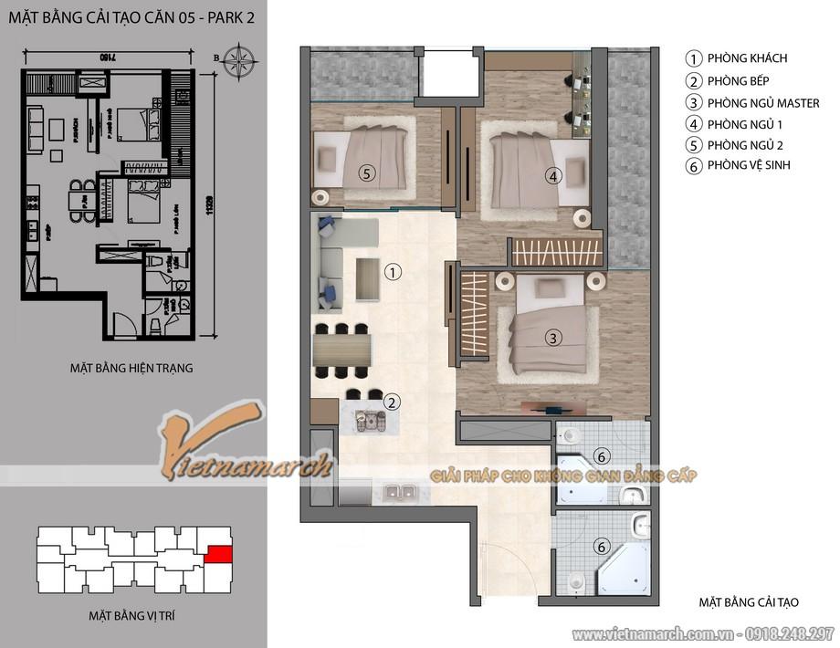 Mặt bằng cải tạo căn hộ P2-05 - phương án được đưa ra bởi KTS Phạm Hưng