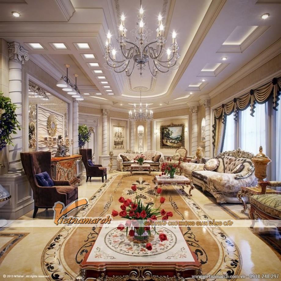 Nội thất phòng khách lớn thiết kế theo phong cách cổ điển sang trọng