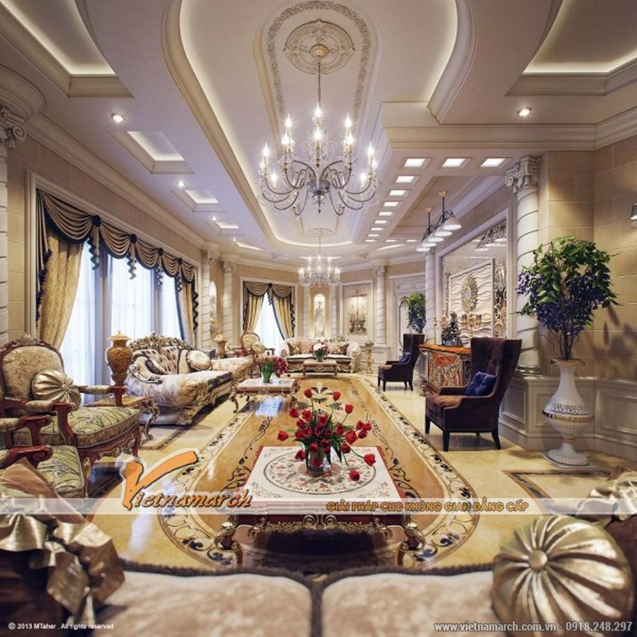 Mẫu nội thất phòng khách sang trọng - Thiết kế nội thất biệt thự phong cách cổ điển