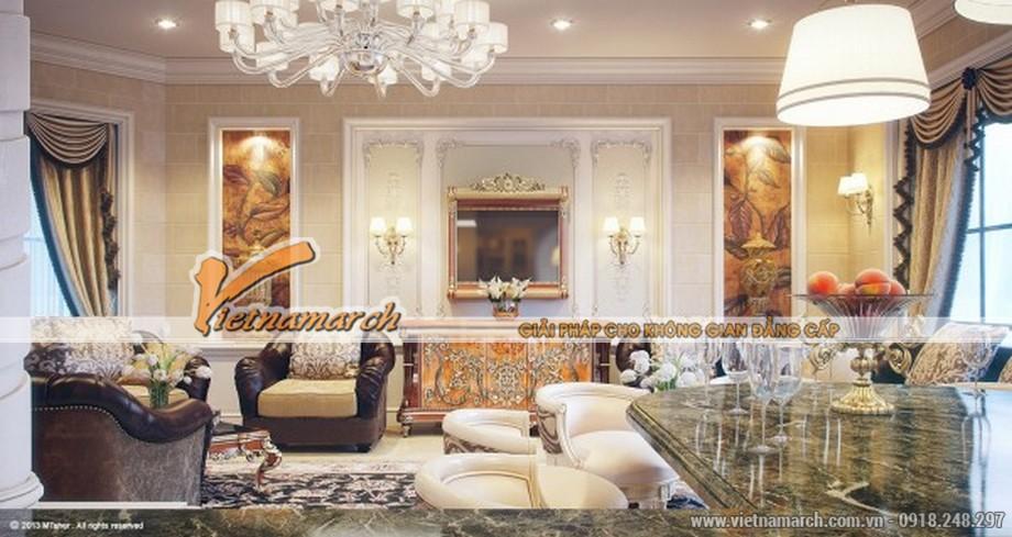 Phòng khách thứ 3 có thiết kế nội thất mang đậm phong cách tân cổ điển