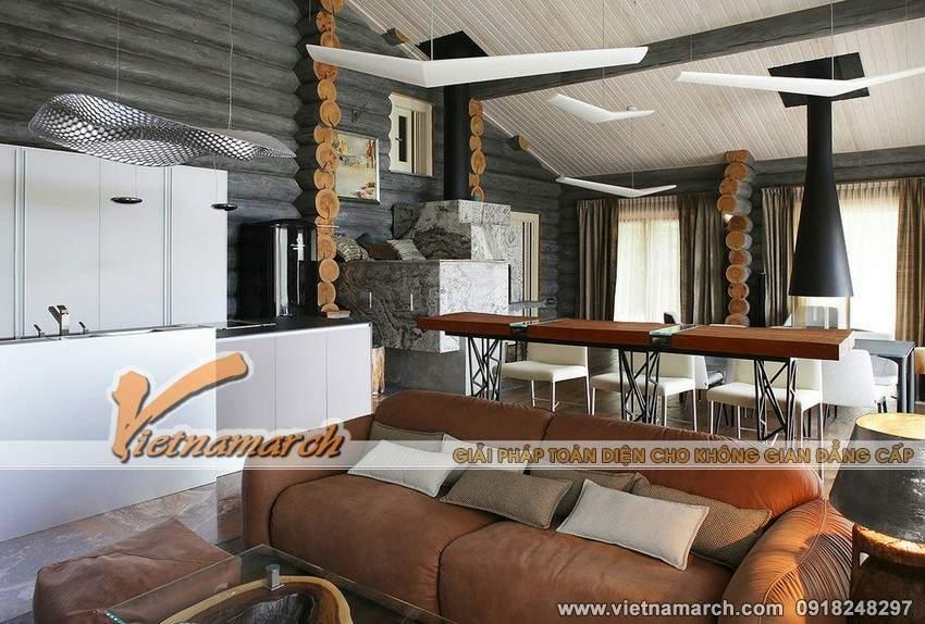 Không gian phòng khách, phòng bếp bên trong ngôi nhà là khá rộng rãi