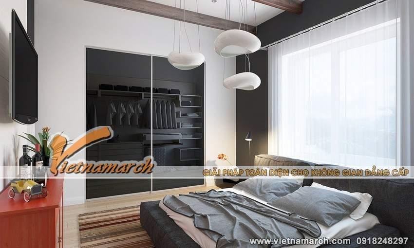 Phòng ngủ mang không gian ngọt ngào, lãng mạn với tông màu trắng và nâu nhạt làm chủ đạo - nội thất chung cư Park Hill