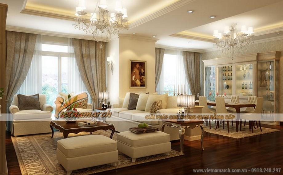 Phòng khách sang trọng thiết kế nội thất chung cư Tân Hoàng Minh