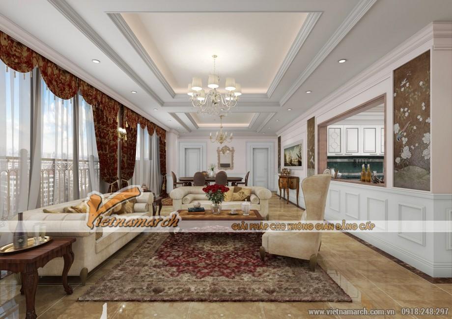 Thiết kế nội thất chung cư D'. LE PONT D' OR Hoàng Cầu - Phòng khách sang trọng