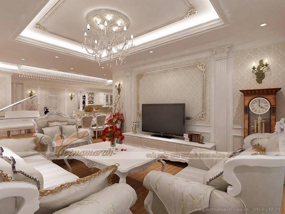 Phòng khách có thiết kế sang trọng với tông màu trắng - nội thất chung cư Tân Hoàng Minh