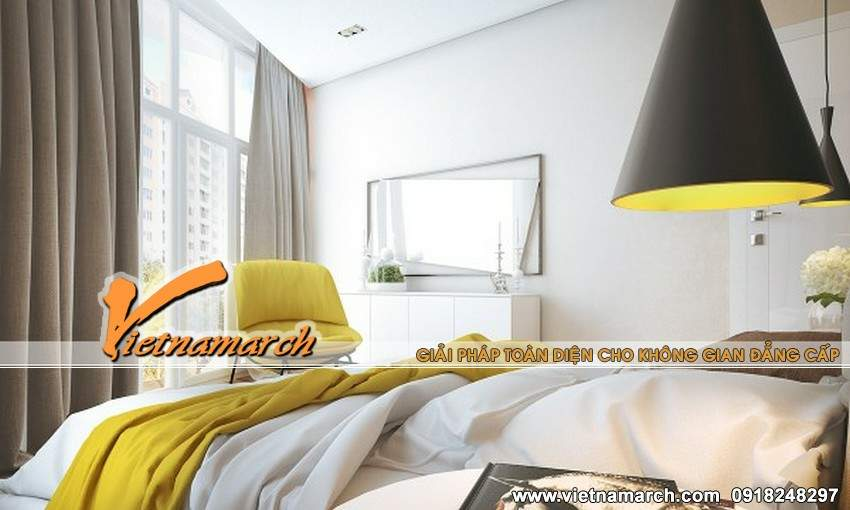 Phòng ngủ được tận dụng tối đa ánh sáng tự nhiên mang đến không gian thoáng, rộng