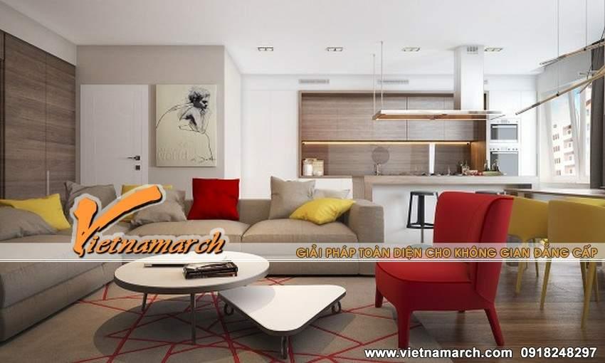 Thiết kế nội thất chung cư Times City với tông màu đỏ và vàng nổi bật