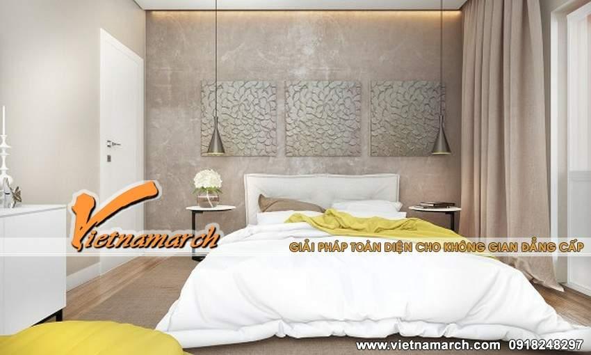 Phòng ngủ sử dụng tông màu trắng làm chủ đạo và được làm nổi bật bởi tông màu vàng - thiết kế nội thất chung cư Times City