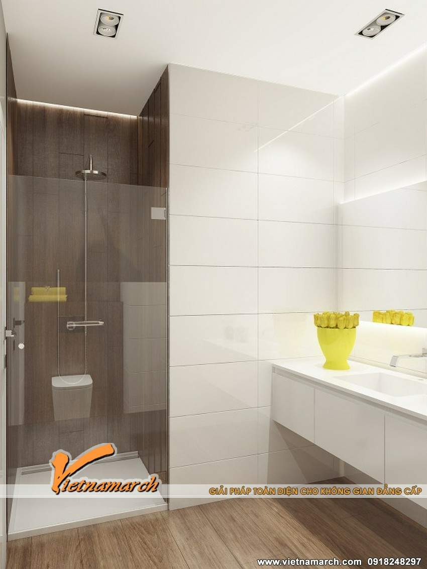 Phòng tắm được thiết kế nội thất hiện đại, tiện nghi