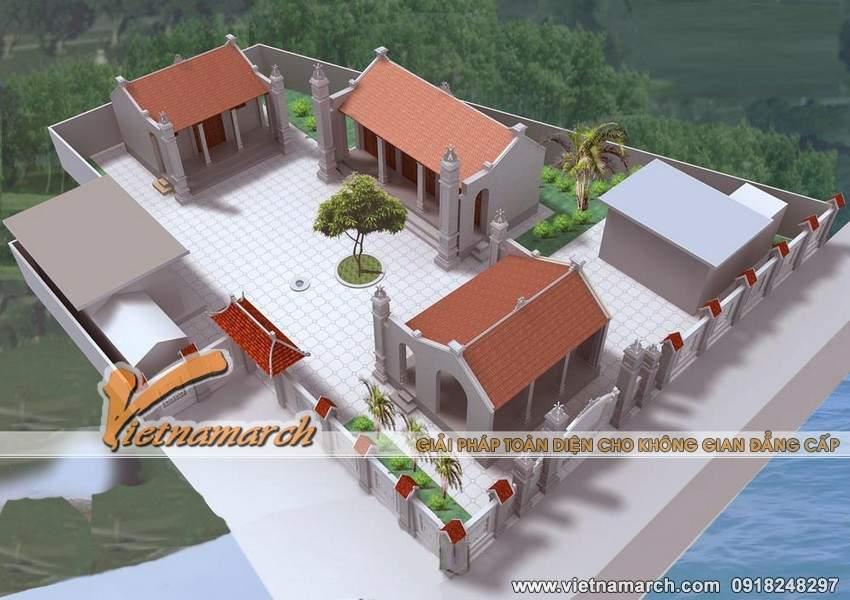 Thiết kế mẫu nhà thờ họ mặt bằng chữ Quốc ở Uông Bí- Quảng Ninh