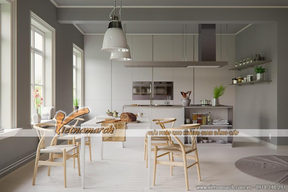 Thiết kế nội thất phòng ăn với gam màu trung tính