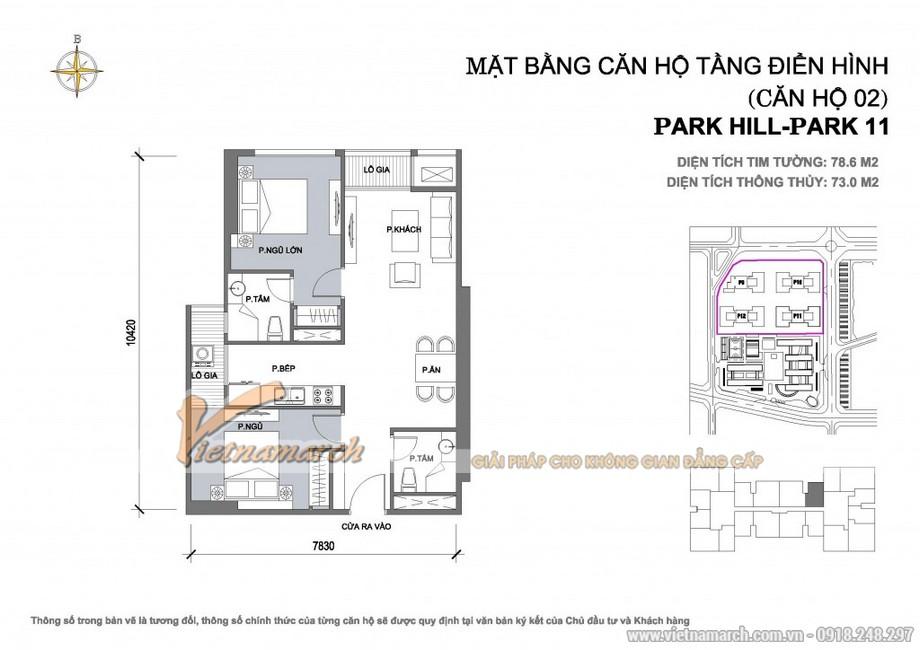 Mặt bằng căn hộ 02 - park 11 chung cư Park Hill Times City