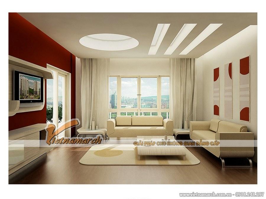 Thiết kế nội thất phòng khách hiện đại sử dụng các màu sắc tươi mới, trẻ trung
