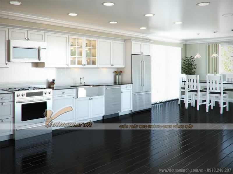 Thiết kế tủ bếp chữ I giúp nhà bếp rộng rãi thông thoáng hơn
