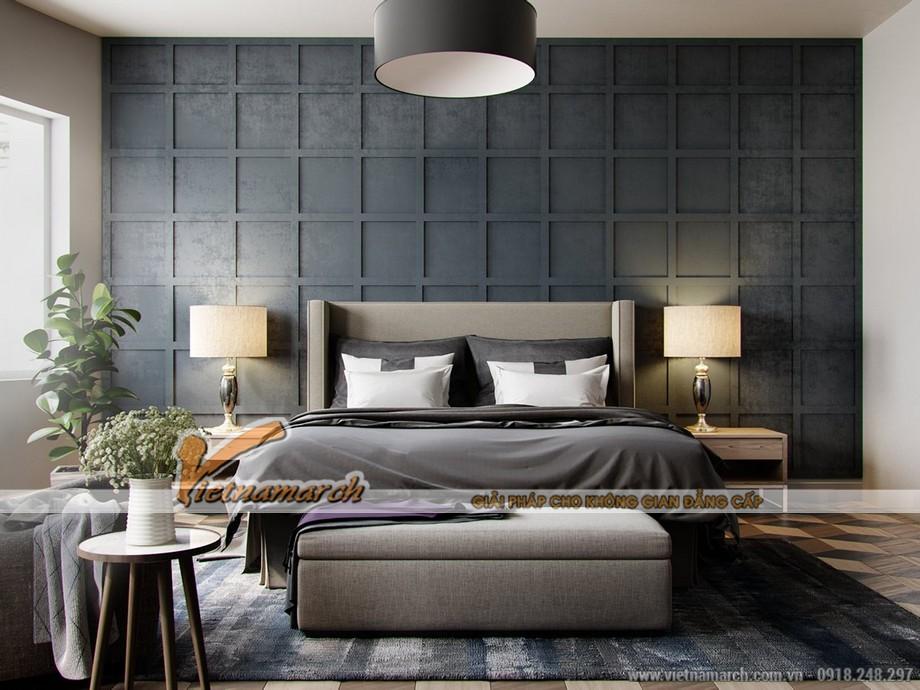 Thiết kế nội thất phòng ngủ với tông màu tối đậm ấm áp