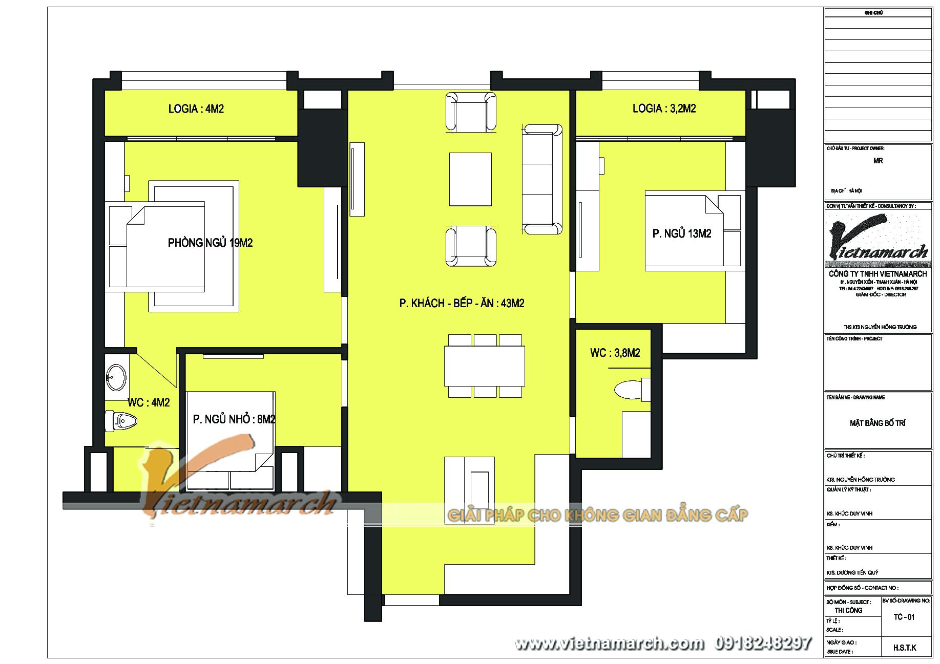 Mặt bằng cải tạo với thiết kế tối ưu cho căn hộ B1 chung cư cao cấp Tân Hoàng Minh