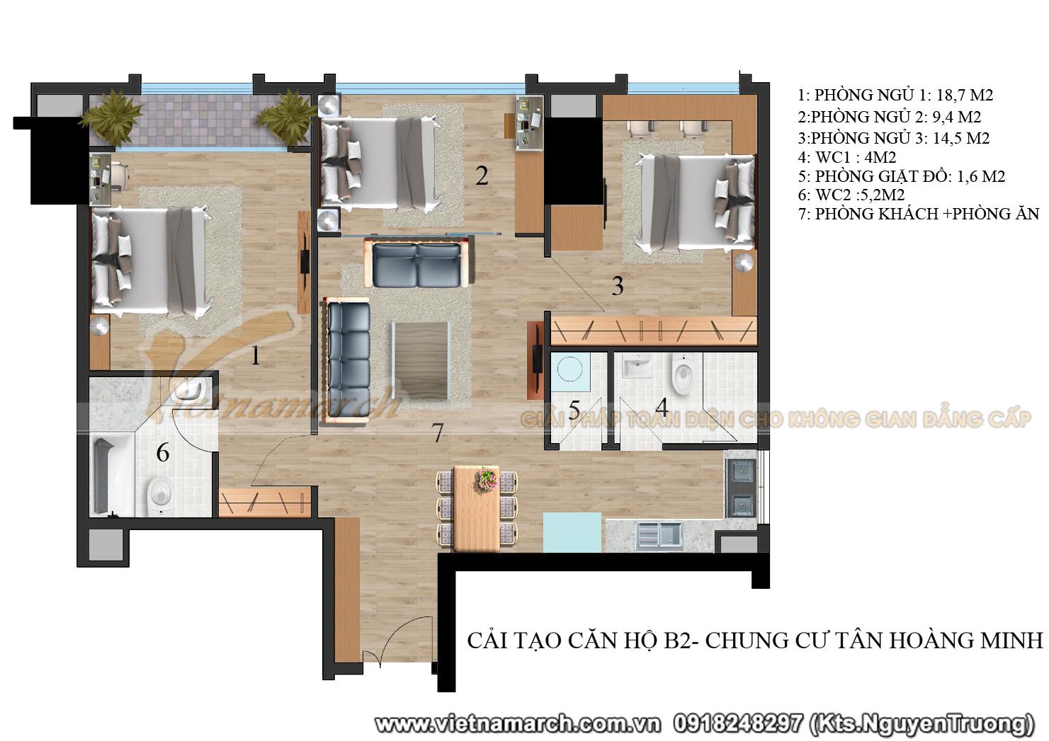 Mặt bằng phương án cải tạo căn hộ B2 chung cư Tân Hoàng Minh