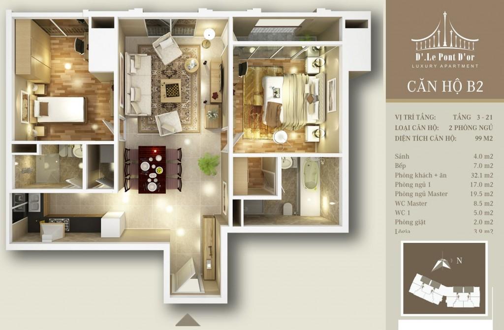 Chia phòng căn B2 với 2 phòng ngủ và một phòng khách liền với phòng ăn thích hợp cho gia đình ít người
