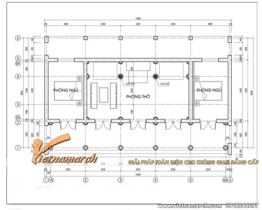 Tổng thế diện tích thiết kế nhà thờ họ 5 gian ở Đông Hưng - Thái Bình