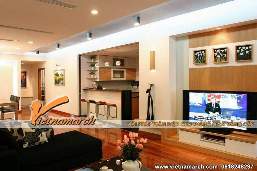 Phòng khách sử dụng sàn gỗ ấm cúng