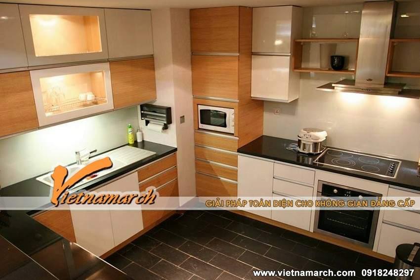 Khu vực bếp nấu gọn gàng và tiện nghi