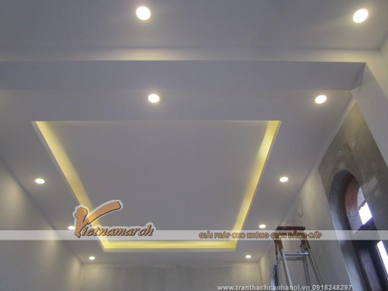 Hoàn thiện trần thạch cao và hệ thống đèn led âm trần cho nhà anh Luân