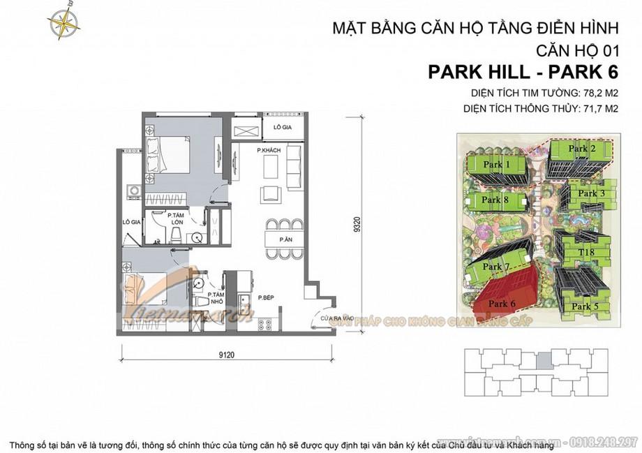 Mặt bằng hiện trạng căn hộ Park 6 - 01 - Diện tích tim tường 78,2 m2 - Diện tích thông thủy 71,7 m2