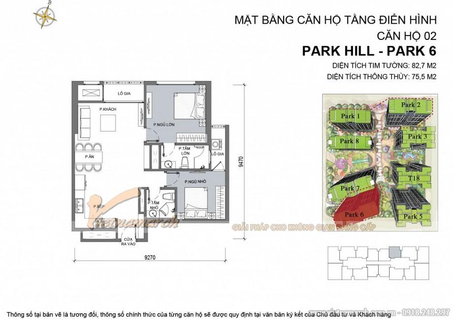 Căn hộ Park 6 - 02 - Diện tích tim tường 82,7 m2 - Diện tích thông thủy 75,5m2