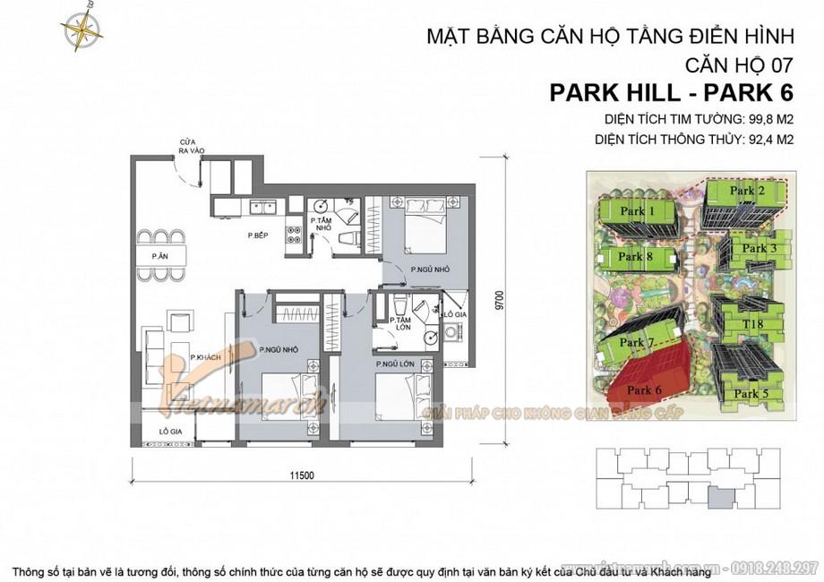 Căn hộ Park 6 - 07 chung cư Park Hill Times City