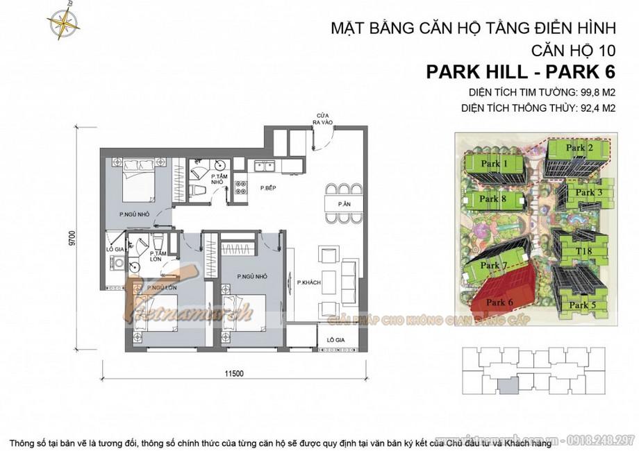 Căn hộ Park 6 - 10- Diện tích tim tường 99,8 m2 - Diện tích thông thủy 92,4 m2